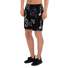 Load image into Gallery viewer, Angelica Mens Athletic Long Shorts - Music Print Design - angelicasmusic-com