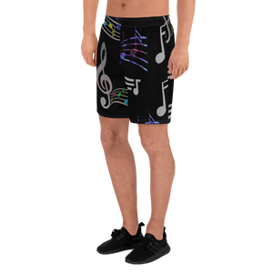 Angelica Mens Athletic Long Shorts - Music Print Design - angelicasmusic-com