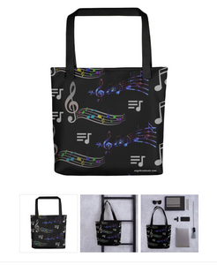 Angelica Tote Bag - Featuring All Over Music Print - angelicasmusic-com