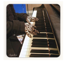 Load image into Gallery viewer, Angelica Coasters - Set Of 4 Featuring Angelica's Hands Wearing Leopard Gloves. - angelicasmusic-com
