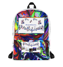 Load image into Gallery viewer, Angelica Backpack - Multicolored With Music Notes - Featuring Angelica's CD's - angelicasmusic-com