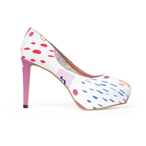 Angelica White & Pink Woman's Platform Heels - angelicasmusic-com