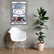 "Load image into Gallery viewer, Angelica Framed Poster - ""Music Defines Us"" - Artwork - angelicasmusic-com"