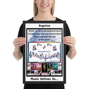 "Angelica Framed Poster - ""Music Defines Us"" - Artwork - angelicasmusic-com"