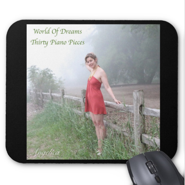 Angelica Mouse Pad - Featuring CD Artwork - World Of Dreams Thirty Piano Pieces (Black) - angelicasmusic-com