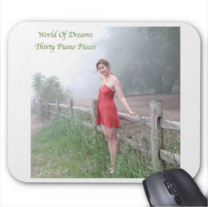 Angelica Mouse Pad - Featuring CD Artwork - World Of Dreams Thirty Piano Pieces (White) - angelicasmusic-com