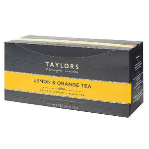 box of Taylors of Harrogate 100 tea bags Lemon and Orange tea