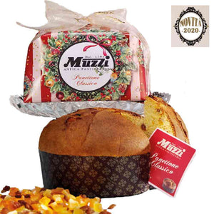 Muzzi 1 kg classic panettone hand wrapped in the new 2020 design with white and red stripes. Buy Panettone in Singapore from Ourchoice.com.