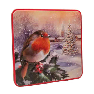 red breasted robin on a holly on a snowy winter day tin from Grandma Wild's confectionery