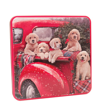Grandma Wild's embossed Puppies in a van tin containing some yummy assortment of biscuits