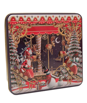 Grandma Wild's embossed Showtime tin depicting reindeer and santa claus and Christmas trees and snowmen putting on a show onstage