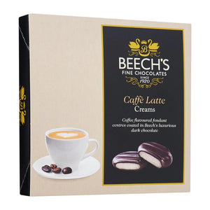 beech's fine chocolates caffe latte creams in 90g box. coffee flavoured fondant centres coated in Becch's luxurious dark chocolate
