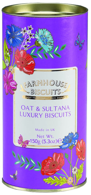 Oat and Sultana Luxury Biscuits made traditionally in England by Farmhouse Biscuits 150 grams purple tube