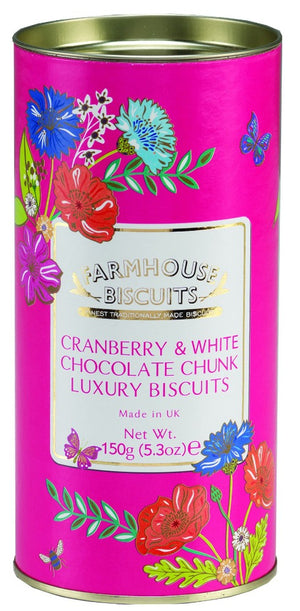 Cranberry and White Chocolate Chunks Luxury Biscuits in meadow flowers foil tube 150 grams from Farmhouse biscuits
