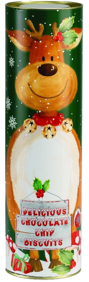 Delicious chocolate chip biscuits from Farmhouse Biscuits presented in Giant Reindeer Tube
