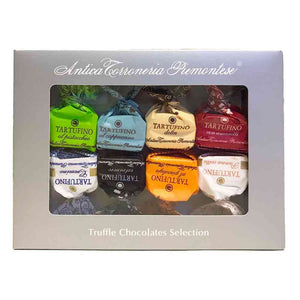 silver window box with 8 pieces of Antica Torroneria Piemontese assorted chocolate truffles