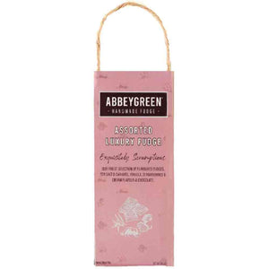 pink abbeygreen handmade assortment fudge in a pink bag with handle