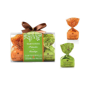 clear box of 12 pieces pistachio and gianduja truffles with ribbon