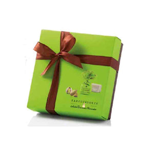 Antica Torroneria Piemontese Pistachio truffles in green box with brown ribbon
