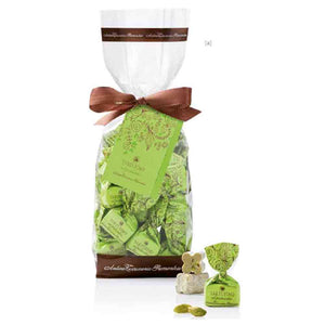 a bag of Antica Torroneria Piemontese pistachio and white chocolate truffles