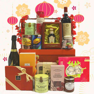 Prosperity Hamper in Oriental Wooden Chest with Handle