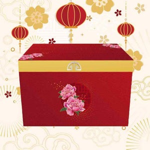 Oriental Red Chest and Gold Lid