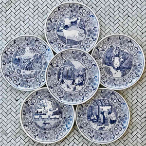 The Fine Cheese Co  Set of 6 Ceramic Plates For Cheese