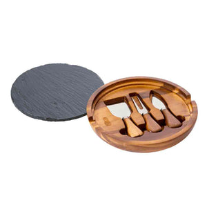 Cartwright & Butler Lytton House Round Cheese Board & Slate (Acacia Wood)