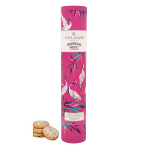 Beautiful herons depicted in this Sara Miller tin containing award-winning Rich dark chocolate shortbread from Shortbread House of Edinburgh
