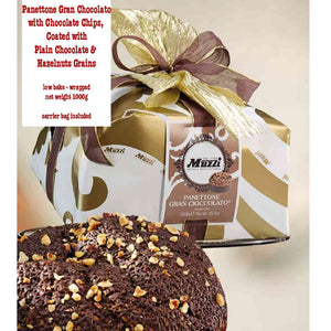 Muzzi Panettone with Chocolate chips, coated with plain chocolate and hazelnut grains. 1kg weight
