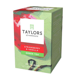 strawberry and vanilla green tea 20 tea bags in box