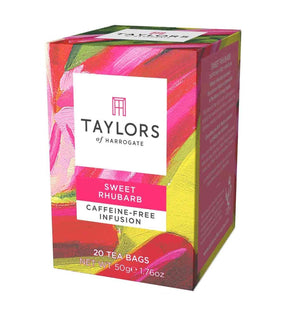 Taylors of Harrogate Sweet Rhubarb caffeine-free infusion 20 tea bags in pink box