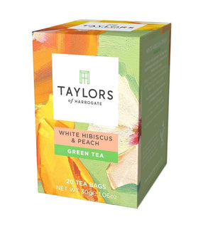 box of 20 tea bags White Peach and Hibiscus Green Tea
