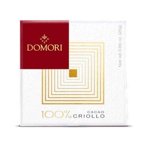 100% criollo chocolate bar from Domori in 25 grams box packaging