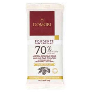 70% extra dark chocolate bar from Domori in a recyclable and earth-friendly flowpack, 75 grams bar
