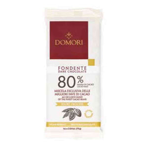 Domori 80% Fondente Dark Chocolate in 75 grams flowpack.
