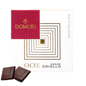 25 grams box of Domori 90% Criollo eextra dark chocolate bar