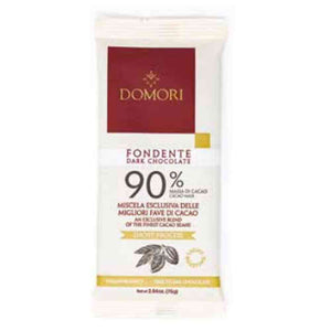 Domori 90% extra dark chocolate bar 75 grams in flowpack packaging. tree to bar chocolate
