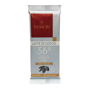 Domori 56% dark chocolate from Ivory Coast made with coconut milk. Tree to bar chocolate.