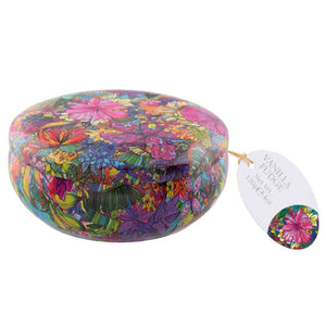 Gardiners of Scotland Escapism round Floral tin filled with vanilla fudge