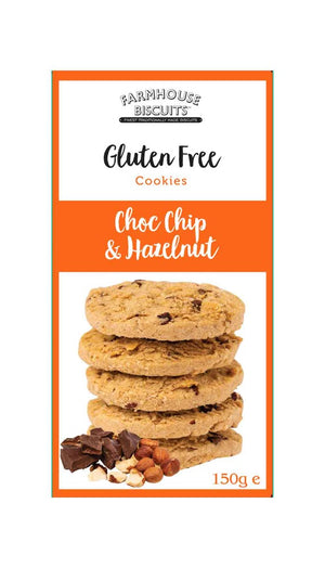Gluten free choc chip and hazelnut cookies from Farmhouse Biscuits in 150 gram box