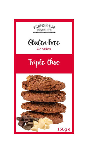 Gluten free cookies from Farmhouse Biscuits Triple chocolate. 150 grams