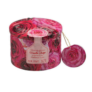 200 grams of meltingly delicious Gardiners of Scotland vanilla fudge in a beautiful round rose tin