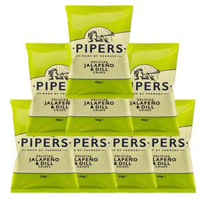 Pipers Delicias Jalapeno & Dill Crisps 150g x 8