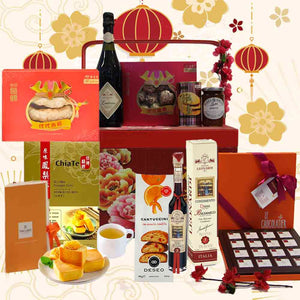Delightful Spring Hamper in Oriental Wooden Chest with Handle