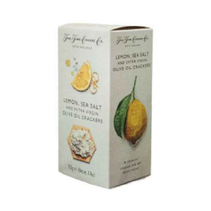 125 gram box of Lemon and sea salt with extra virgin olive oil crackers from the fine cheese co