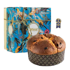Box of 1kg Muzzi classic panettone with citrus peel and sultanas