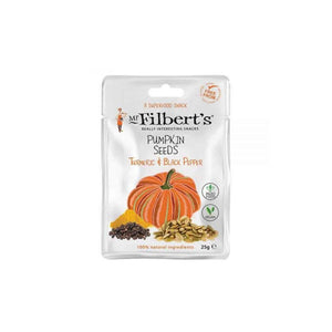 pumpkin seeds seasoned with turmeric and black pepper from Mr Filbert's. 25 gram snack pack