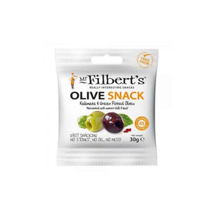 Mr Filbert's Olive Snack with Kalamata and Green Pitted Olives marinated with sweet chilli and basil. 30 grams pack