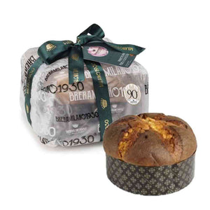 500 grams Breramilano Pear and Chocolate Panettone wrapped in beautiful plastic and tied with green ribbon